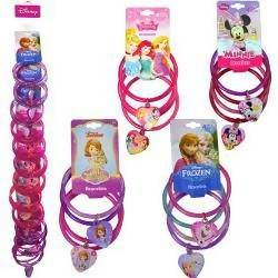 4 Bangle Bracelets with Charm Assorted on a Clip Strip (Frozen, Princess, Minnie, Sofia)