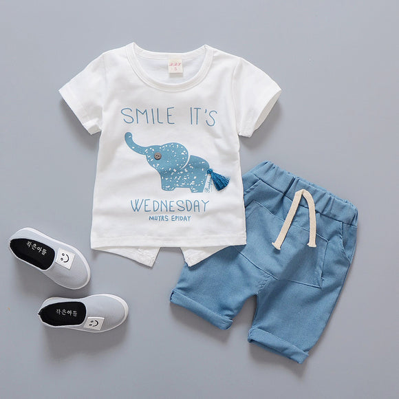 Summer Children Clothing Cute Elephont Short Sleeved T-shirt Tops Shorts 2PCS Outfits Boys Sport Suits Kids Bebes Jogging Suits