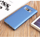 Smart Chip Case For Samsung Galaxy Note8 S9 S8 S8Plus Smart Chip Clear View Stand Cover Case for Samsung S6 S7 Edge Mirror Case