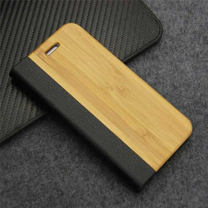 Retro Luxury Leather Flip Case Nature Real Wood Phone Cover with Stand for iPhone 7 8 Plus