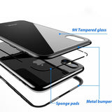 Magnetic Adsorption Flip Hard Case for iPhone X 8 Plus 7 Plus Tempered Glass Back Cover Luxury Metal Bumpers
