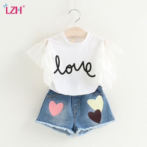 Children Clothing 2018 Summer Girls Clothes T-shirt+Shorts Christmas Outfits Kids Clothes Tracksuit Toddler Girls Clothing Sets