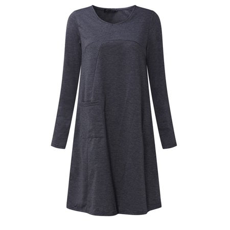 Womens V Neck Long Sleeve Pocket Tunic Loose Casual Dresses
