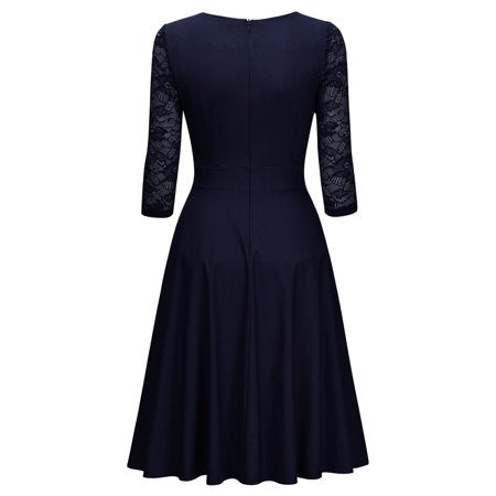 MIUSOL Women's Vintage Square Neck Floral Lace 2/3 Sleeve Cocktail Swing Dresses for Women (Navy Blue L)