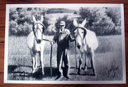 Print - Farmer and His Mules