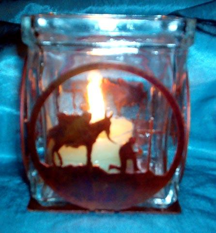 Votive Holder - Praying Cowboy w/Mule