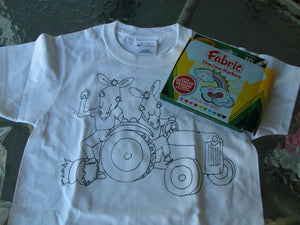 Childs T-shirt coloring kit (donkeys on tractor)