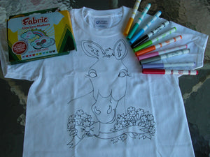 Childs T-shirt coloring kit (donkey in flowers)