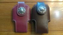 Cell phone holder  Brown Leather