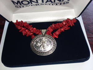Jewelry - Montana Silversmiths - Necklace Turquoise or Coral Ovals - Mule Head Silver