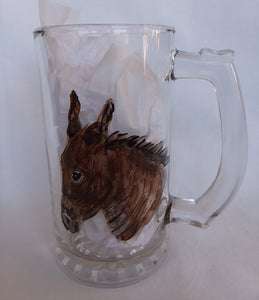 Glass Beer Mug - Hand Painted