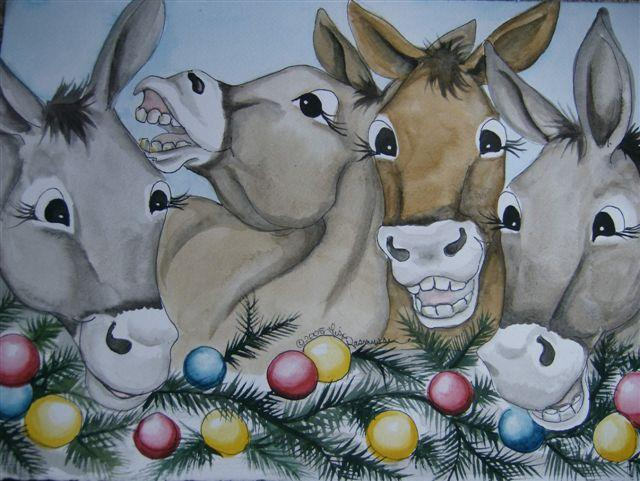 Card - Christmas Card - Mule Cartoon