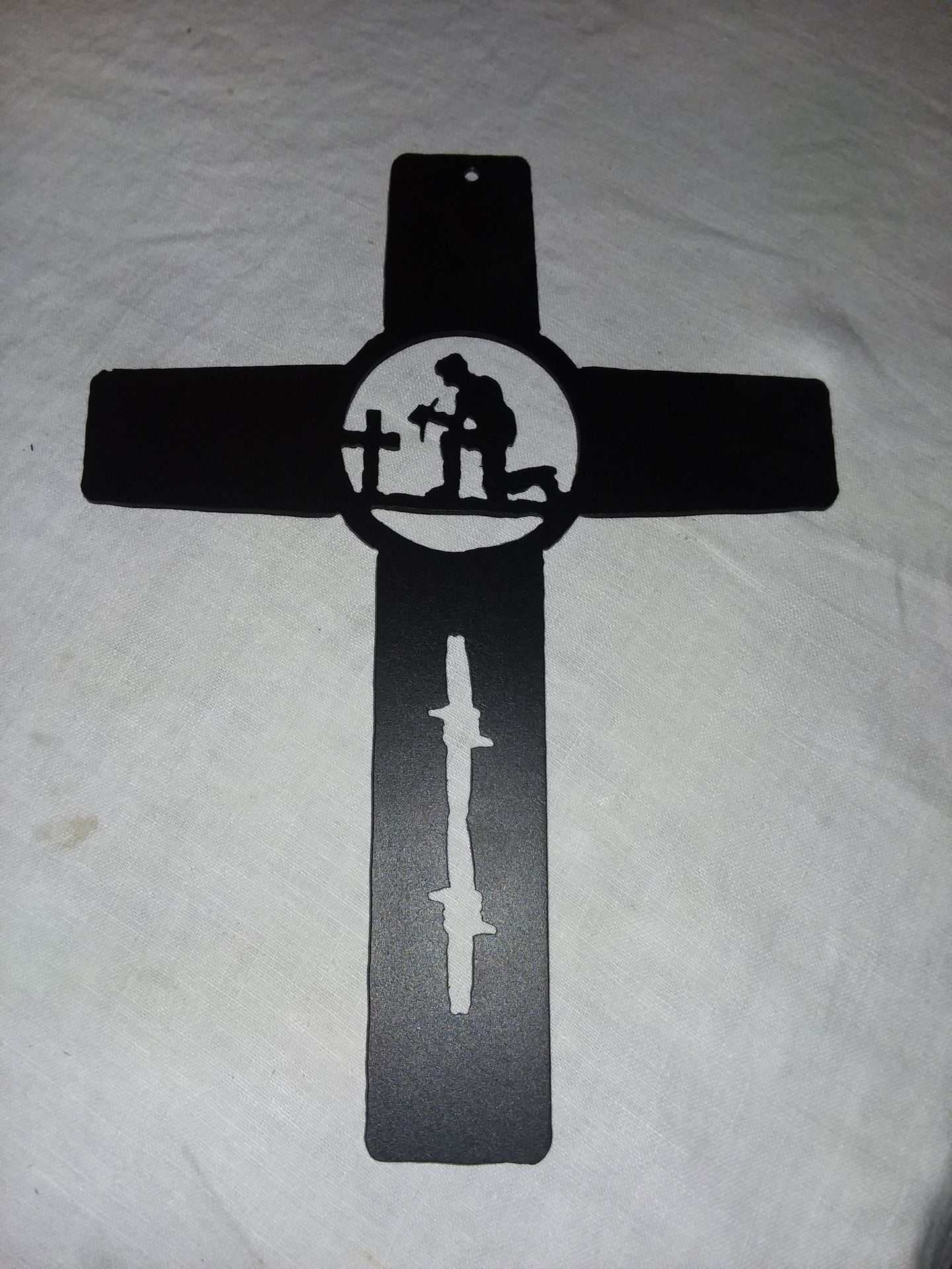Metal Praying Cowboy Cross