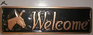 Metal House Marker - Donkey Welcome Sign