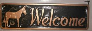 Metal Mule Welcome Sign