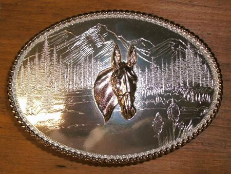 Jewelry - Belt Buckle - Mule Head Silver