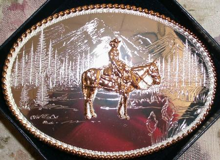Jewelry - Mule & Rider Silver Belt Buckle