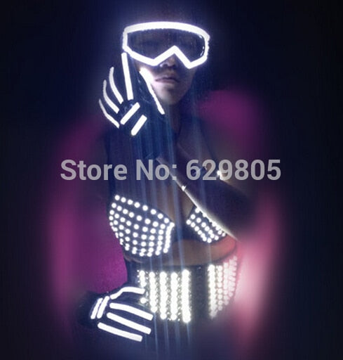 Female Light Girdle, Bra and Gloves Costume -  LED