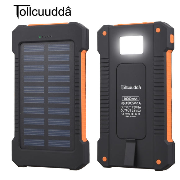 Waterproof 10000 mah Solar Charger - 2 USB Ports