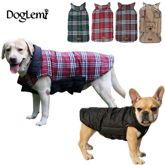 Waterproof Reversible Dog Jacket  - Designer Warm Plaid Winter Coat for Pets