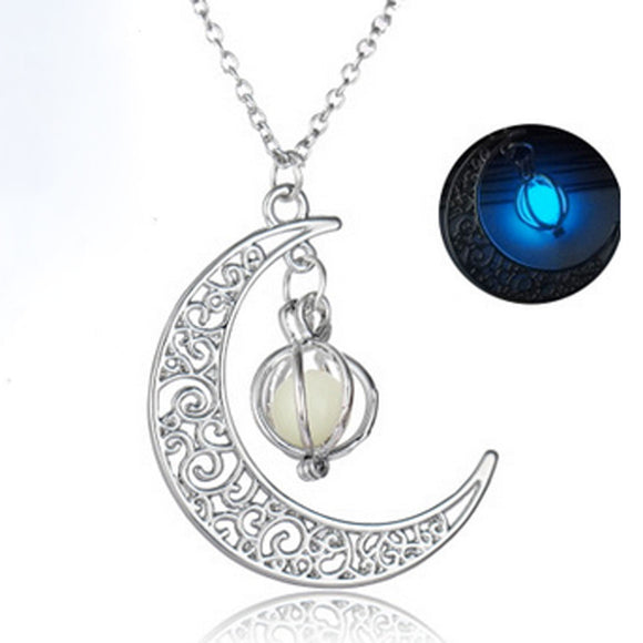 Glow In The Dark Luminous Necklace Moon&Pumpkin Pendant Silver Plated