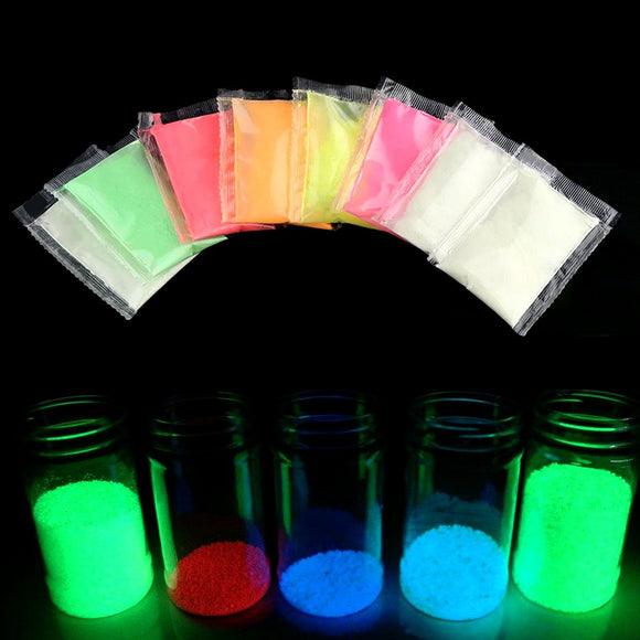 1 Bag Neon Phosphor Powder Nail Glitter Powder Dust Luminous Pigment Fluorescent Powder Nail Glitters Glow in the Dark 10 Colors
