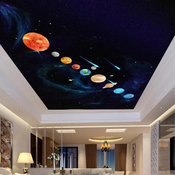 9pc DIY  Planet Wall Stickers - PVC Waterproof Luminous KId Room Decor