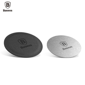 Baseus Magnetic Disk Car Phone Magnet Holder -  Metal Plate & Leather Iron sheet