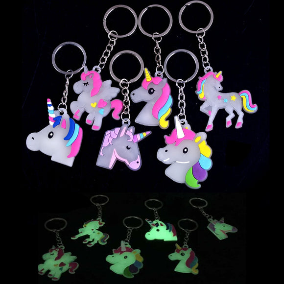 Glow In Dark Little Fairytale Unicorn Keychain Holder Chaveiro Bag Charm Key Chain Pendant Girl Women Gift Jewelry Llaveros 1pcs