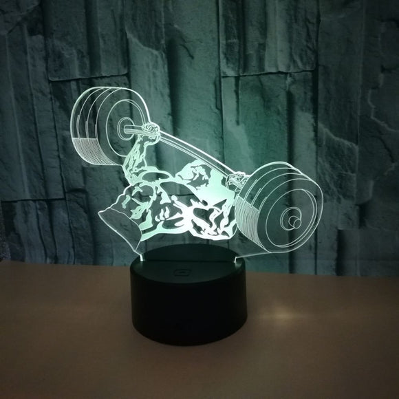 Bodybuiilder 3D Lamp - Touch Switch & Remote Control - Colors Changing Night Light