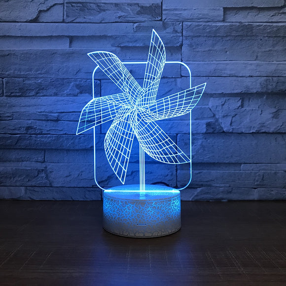 Windmill Night Light -  Creative Seven Color Bedside 3D lamp