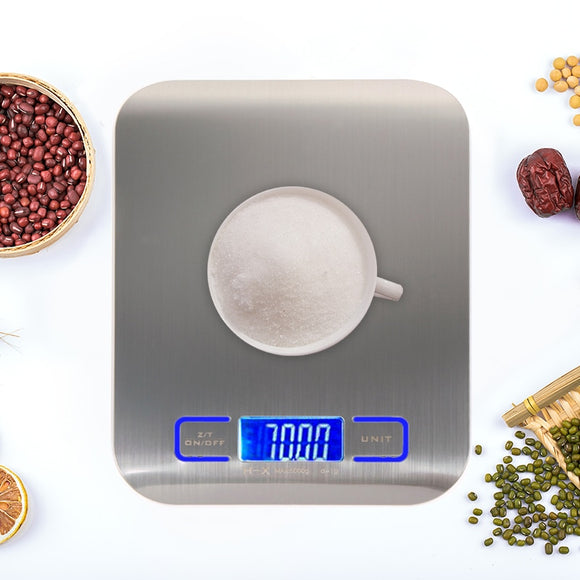 11LB/5000g Digital Kitchen Scales - Stainless Steel Electronic Balance LED Food Scales Kitchen Cooking Measure Tools