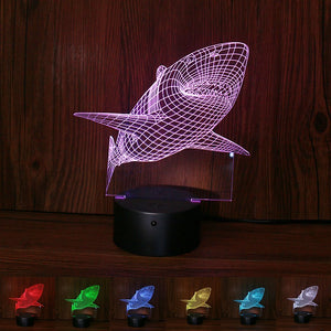 3D Shark Lamp -  Touch Switch & Remote Control - Colors Changing Night Light