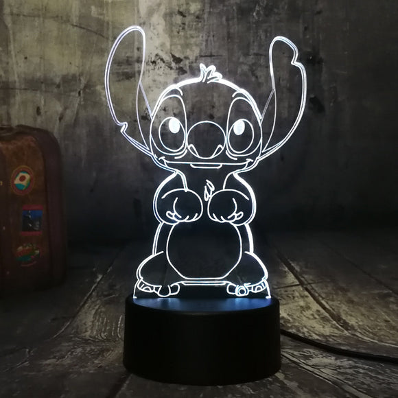 New Cartoon Cute Stitch 3D LED Night Light 7 Color Change Baby Sleep Table Lamp Home Decor Holiday Kids New Year Christmas Gift