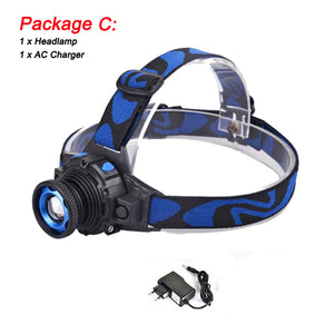 Waterproof LED headlamp 6000lums  - Rechargeable Headlight