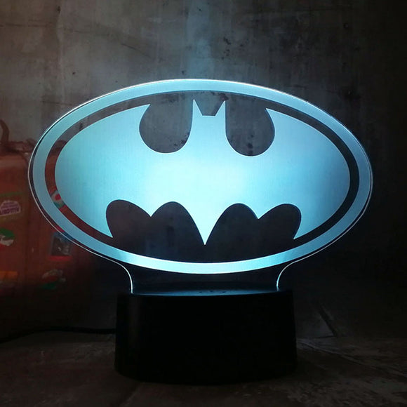 New 2019 Justice League 3D LED DC Batman Symbol Light Night Desk Table Lamp 7 Color Change USB RGB Controler Toy Kids Gift