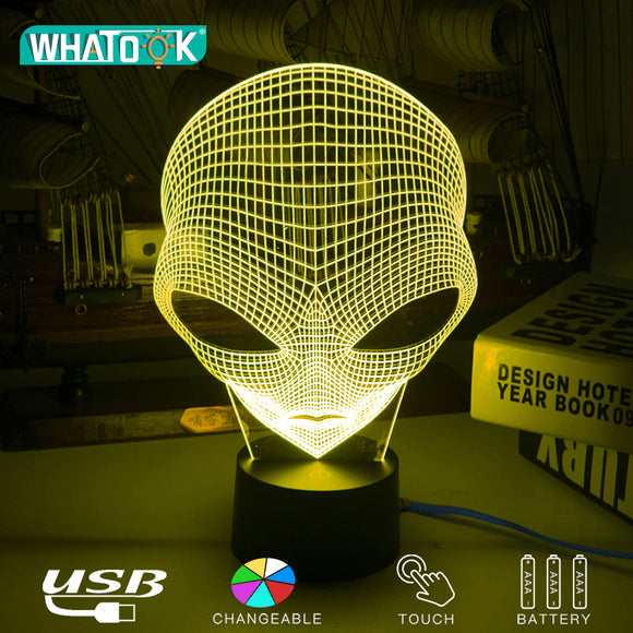 Unique Alien 3D LED Acrylic Night Lamp -  Cartoon Fashion