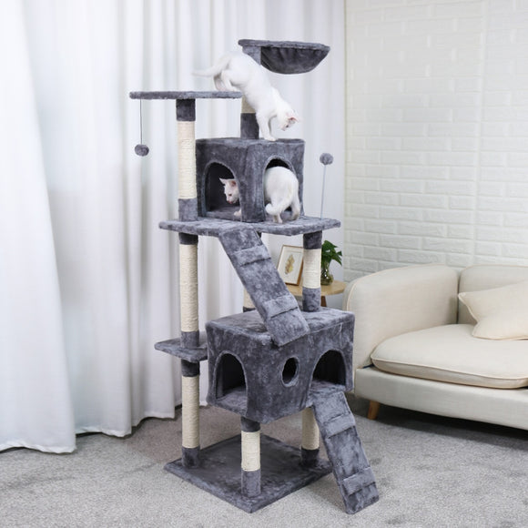Speedy Pet Multifunctional Chair Creative Cube House with Scratching Removable Pad Cushions Pet Activity Cat Tree with Ball