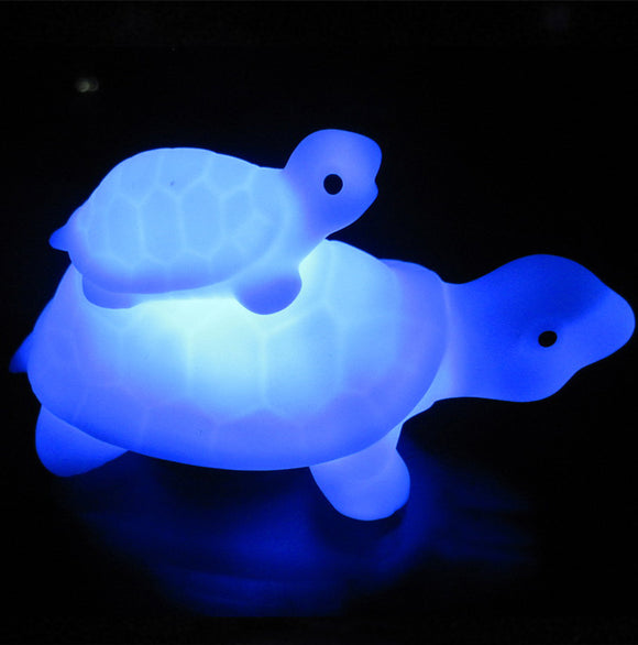 Unique  LED Child and Mother Tortoise- LED 7-color Changing Flash Lamp Night Light 1 Pc