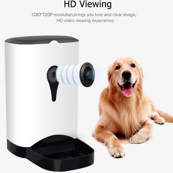 Pet Intelligent Automatic Feeder With WiFi Remote Control and Video Monitors -  Rechargeable  and Suitable For Dogs/Cats Innovative