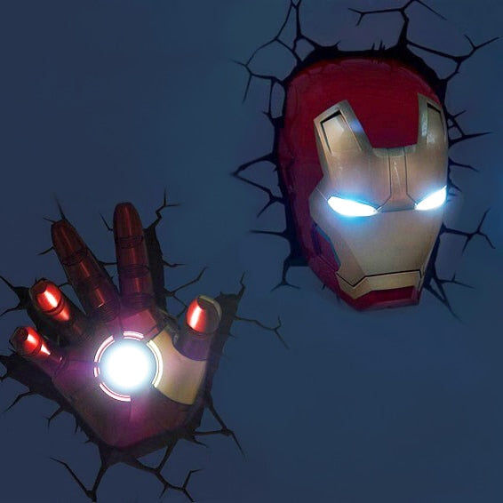 Marvel avengers Captain America Iron Man LED bedside bedroom living room 3D creative wall lamp decorated with light night light