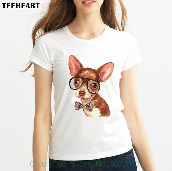 Women's Tee Watercolor Cute Little Dog Nice Bow Tie Glasses Funny Joke Women White T Shirt 2018 Kawaii Print T Shirt Women