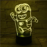 Unique Kids Led Night Lamp Despicable Me 2 Minions Nightlight for Children's Bedroom Decorative 3d Led Night Light Boys Gift