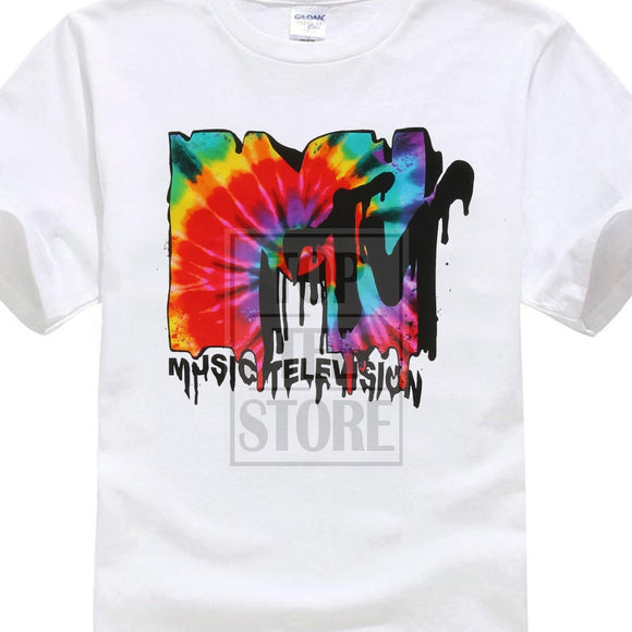 Casual Fitness T Shirt Printed Men T Shirt Short Sleeve Funny Tee Shirts Mtv Melted Tie Dye Logo Mens Graphic T Shirt Simple