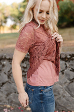 All Laced Up Top In Tawny Rose