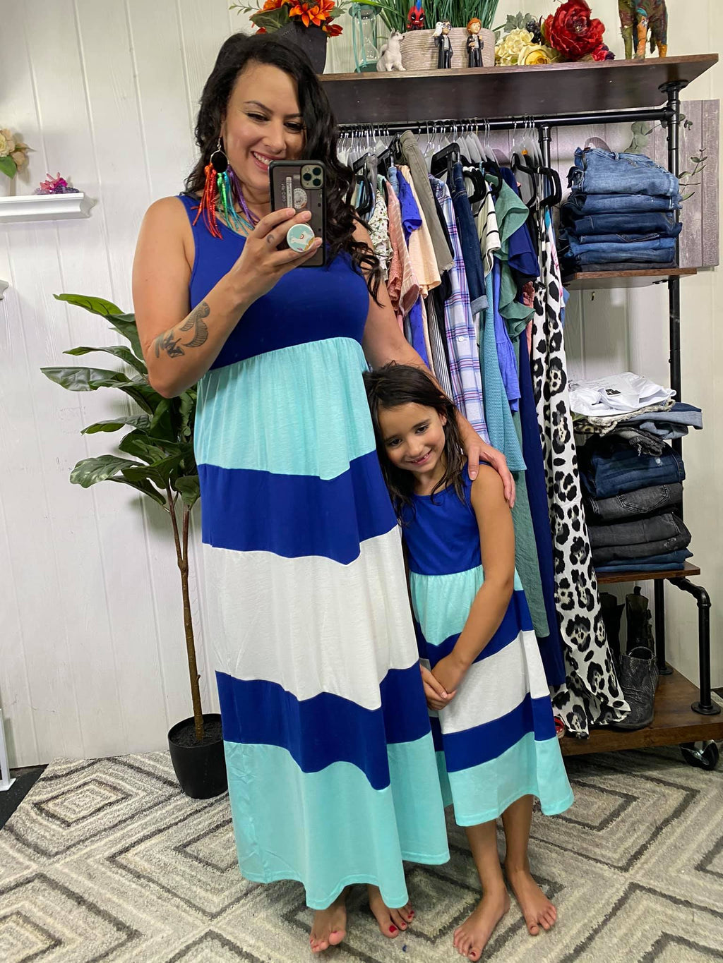 Mint and navy KIDS chevron maxi dress (pre order)