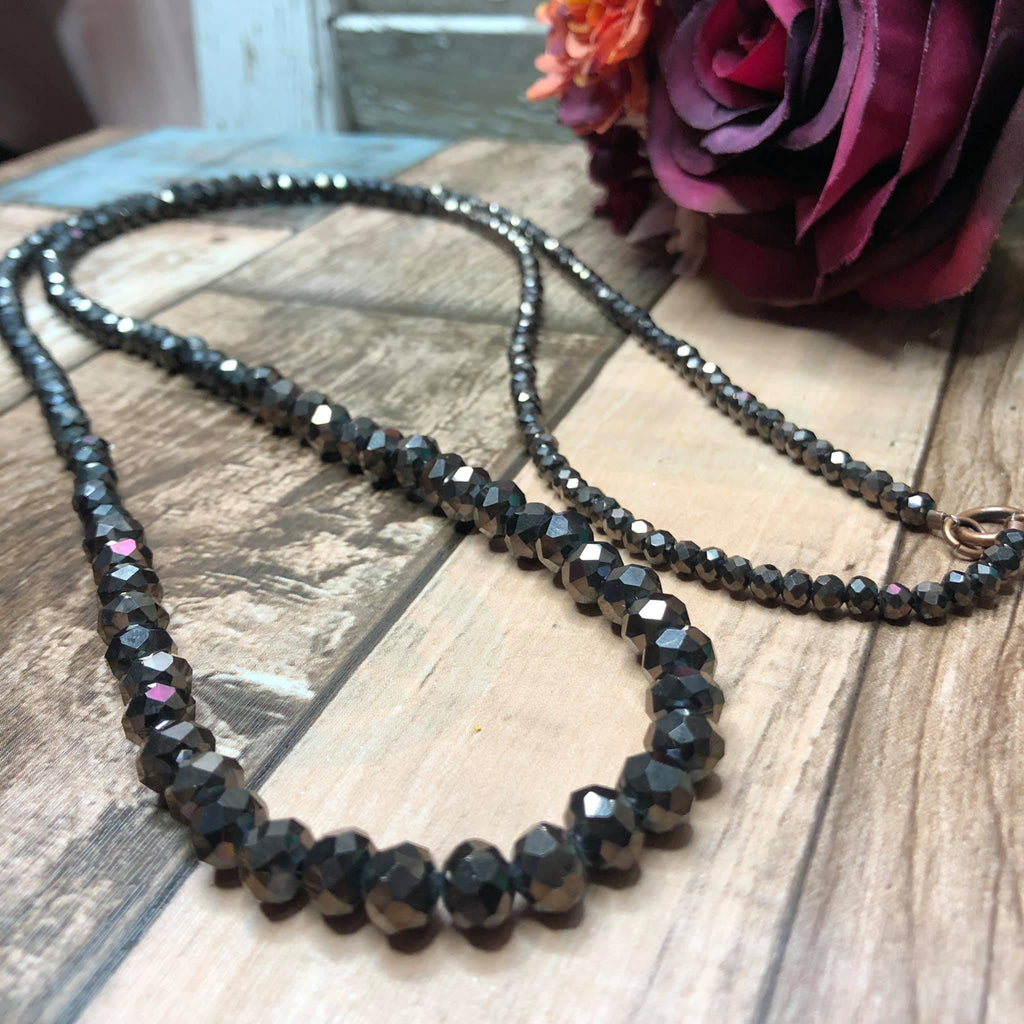 Long beaded necklace - chocolate brown