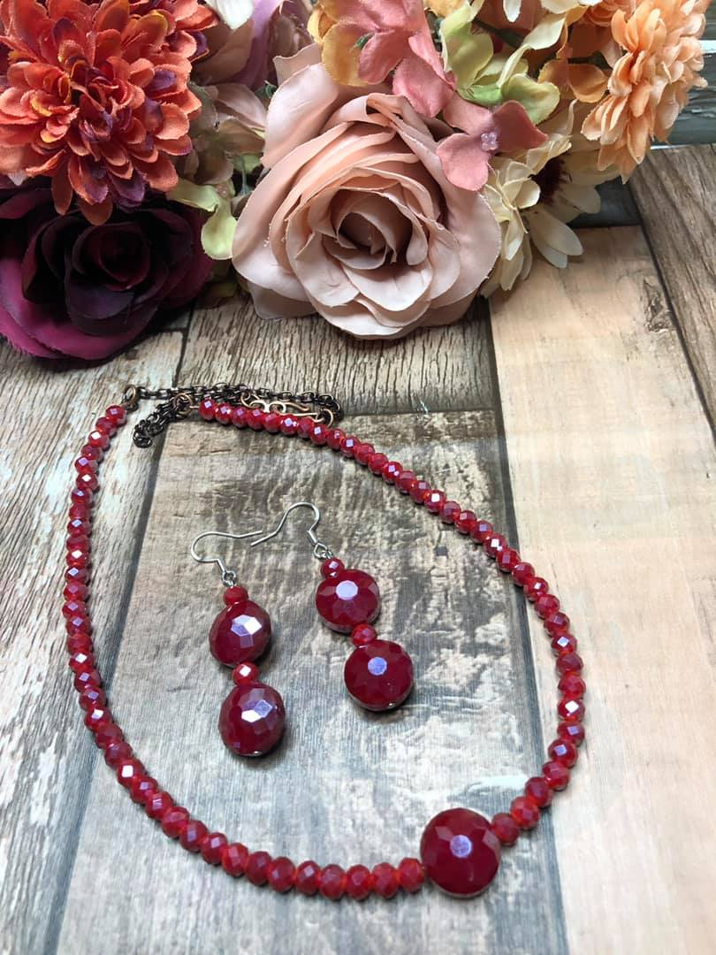 Red Beaded Necklace with Matching Earrings