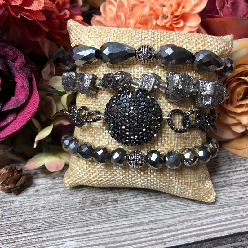Black midnight bangle set