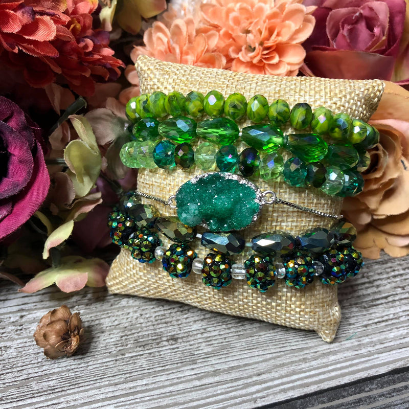 Green garden bangle set